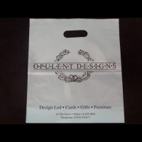 Printed White Punched Out Handle Polythene Bags